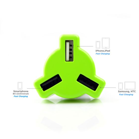 Triple-port Rapid Car Charger-Green