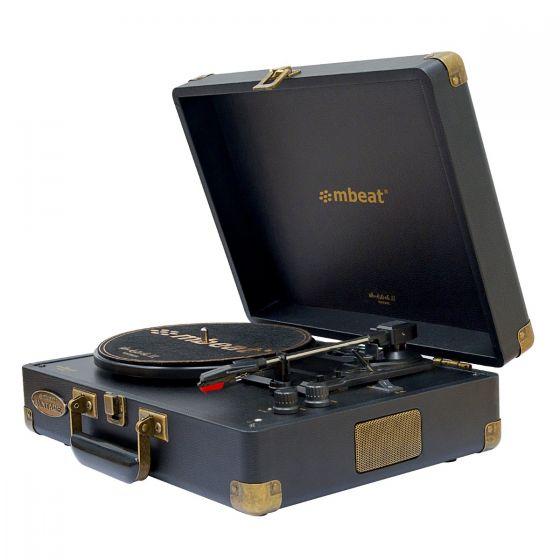 Woodstock II Vintage Turntable Player with BT Receiver & Transmitter - Black