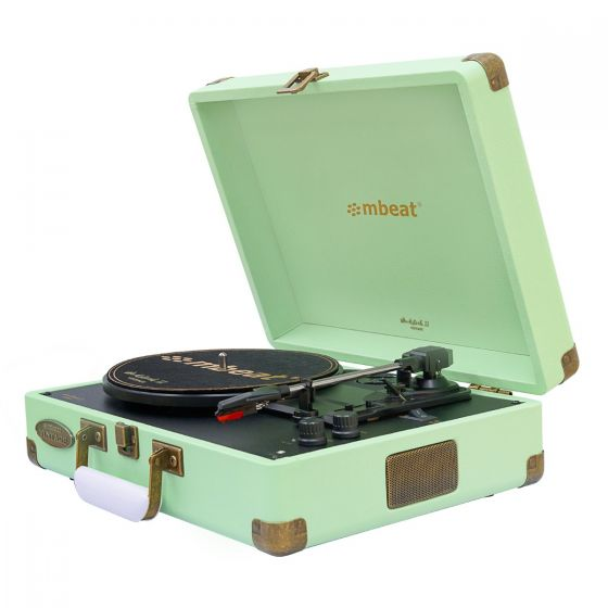 Woodstock II Vintage Turntable Player with BT Receiver & Transmitter - Tiffany Green