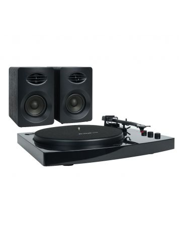 Pro-M Stereo Turntable with Speakers Black
