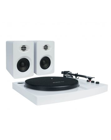Pro-M Bluetooth Stereo Turntable with Speakers-White