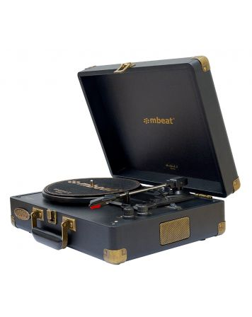 Woodstock II Vintage Turntable Player with BT Receiver & Transmitter - Black