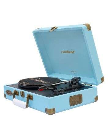 Woodstock II Vintage Turntable Player with BT Receiver & Transmitter - Blue
